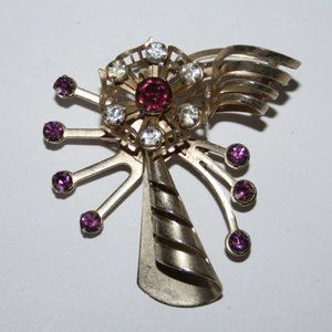 Vintage gold and purple rhinestone brooch pendant